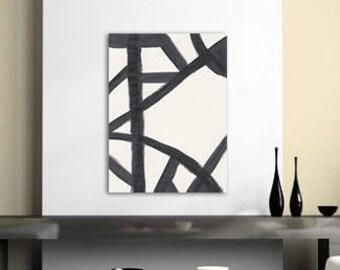 Black Abstract Art, Black White Modern Art, Black White Abstract Art, Black White Minimalist Art, Black Contemporary Art, Brush Stroke Art