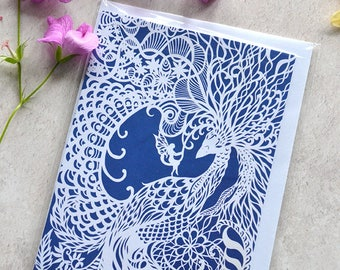 Dream Bird - Faery and Bird Greeting Card - With Original Paper Cut Art - Recycled and Eco Friendly