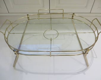 Vintage Brass Breakfast Tray -  Breakfast in Bed Brass and Glass Tray - Brass Serving Tray