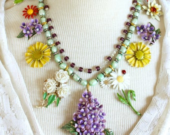 The Garden Party assemblage floral flower necklace vintage antique jewelry multi layer spring summer brooches pins recycled