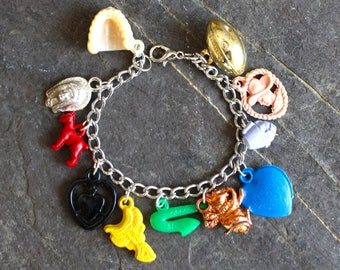 Gumball Charm Bracelet Cracker Jack charms vintage antique assemblage baseball jewelry OOAK statement fun children  1950's  prizes steampunk