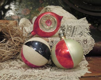 Three Vintage Hand Painted Mercury Glass Ornaments / Indented Blue and Silver Round Christmas Ornaments