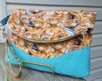 E.T. Foldover Clutch with Back Pocket and Wristlet