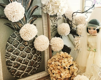 Ivory & Gold Pom Pom Garland Yarn Pom Pom Garland - Baby Bridal Shower Garland  Birthday  Wedding  Ivory Pom Pom Decoration  6 Ft.