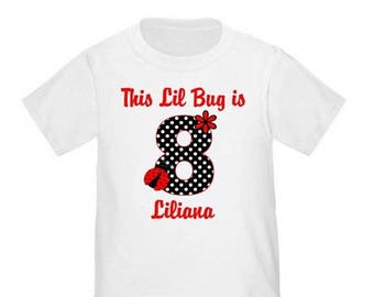ON SALE Ladybug Black Red Girls Personalized Birthday Shirt - ANY Age