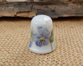 Hand Painted Purple Pansy Porcelain Thimble  ~  Lavender Pansy Thimble  ~  Purple Pansy Porcelain Thimble
