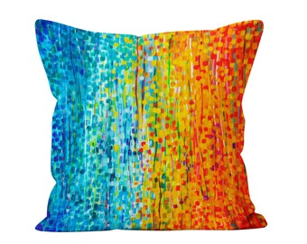 Fiesta - Blue And Orange Throw Pillow - Teal & Orange Abstract Decorative Pillow Designed By Louise Mead Available In Two Sizes
