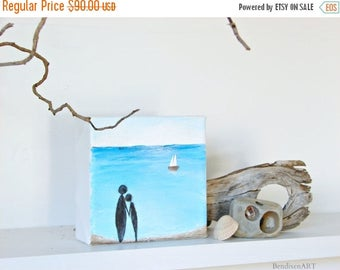 CLEARANCE Beach Decor, Ocean Painting with 3D Sailboat--A Couple in Love, Holding Hands on the Shoreline, Beach Wedding Gift