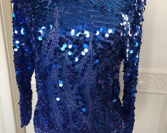 80s Blue Sequinned and Beaded Top