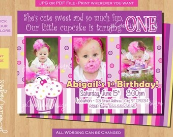 first birthday Cupcake invitation Cupcake Invite Birthday Party Photo Picture Invitation Pink Girl 1st Birthday Cupcake birthday party