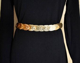 Vintage Gold Belt / Gold Leaf Belt / 80s Belt / 80s Gold Belt / 1980s Belt / 1980s Gold Belt