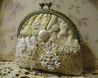 More Snow Handmade Purse OOAK Victorian Crazy Quilt Hand Embroidered Art Purse Winter Snow Flakes Romance White Wedding Party Bag Vtg Trims
