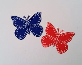 "Butterflies, Large, with Hand-Drawn White Ink~ 2"" Butterfly Cut-outs, Confetti, Wedding, Party Confetti, Craft Supply, Card Supply"