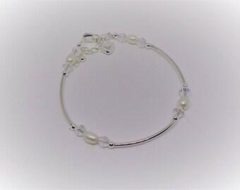 Girls Heart Bracelet Pearl Bracelet Clear AB Crystal Bracelet Adjustable Bracelet 925 Sterling Silver Girls Bracelet BuyAny3+Get1 Free
