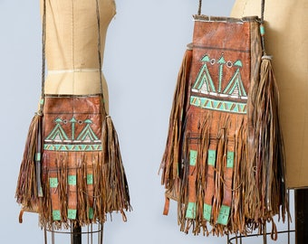 1970s Moroccan Festival Fringe Purse Embroidered Leather Bohemian Tote