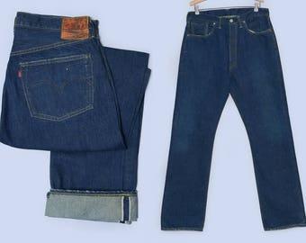 Levis S501 XX 1944 Reproduction Big E Single Stitch w/ Hidden Rivets Dark Redline Selvedge Indigo Denim Jeans 36 x 36