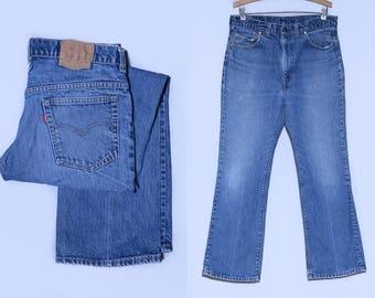 70s Levis 517 Black Bar Perfectly Distressed Indigo Denim Blue Jeans 34 x 31