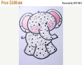 ON SALE Baby Elephant Applique Machine Embroidery Design