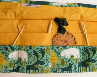 Circular Knitting Needle Case. Forest animal fabric.