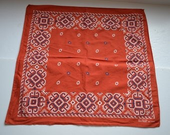 Vintage Fast Color orange, white, blue bandana cowboy cowgirl Aztec Tribal biker head scarf geometrical flowers cotton bandana Made in USA