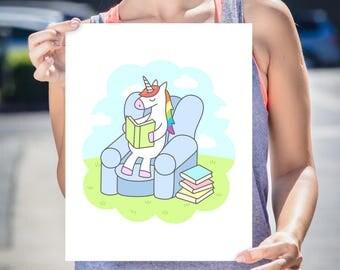 Unicorn Art Print, High Quality Art Poster, Home Decor, Wall Art, Poster Design, Illustration - Unicorn Reader, Book Love Art, Bookish Art