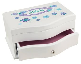 Personalized Florascope Deluxe Jewelry Box Lavender Teal Aqua Turquoise Purple Lilac jewef-326