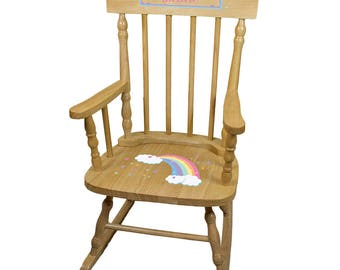 Personalized Natural Childrens Rocking Chair with Pastel Rainbow Design-spin-nat-235b