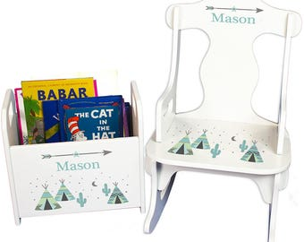 Personalized Puzzle Rocker and Book Caddy set with Aqua TeePee Design-rknrd-242ab