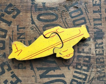 vintage wooden plane puzzle, antique wood toy, great graphics, easy 2-piece puzzle, nursery decor, from Elizabeth Rosen