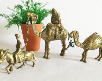 Brass Camel Mini Statues /  Middle Eastern Camel Caravan / Miniature Camels