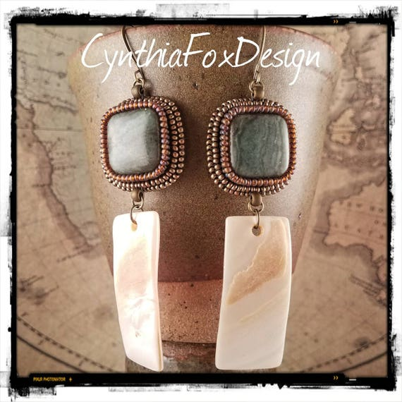 Safari Inspired Green Jade and Mother of Pearl Earrings