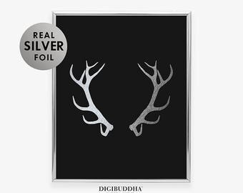 ANTLERS Silver Foil Print Woodland Animal Poster Reindeer Art Print Moose Glam Rustic Desk  Deer Nature Office Wall Art B13