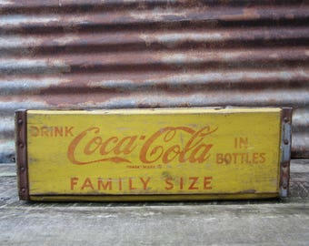 Vintage Wood Crate Coka Cola Beverages Coke Delivery Box Red & Yellow Family Size Delivery Box Rustic AGED Distressed Industrial vtg Storage