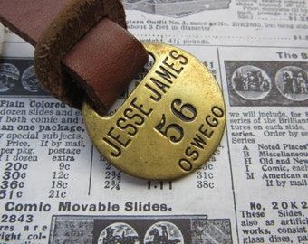 Vintage Brass Metal Tag Number 56 Tag JESSE JAMES Tavern Hotel Room Oswego Oregon #56 Antique Original Leather Fob Keychain Room # Key Chain