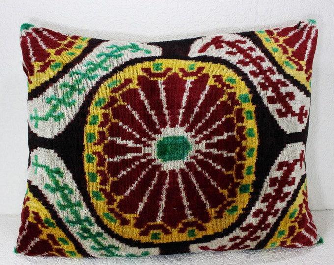 Silk Velvet Ikat Pillow Cover Lp407, Bohemian pillow, Velvet Ikat Pillow, Velvet Pillow, Velvet Pillow Cover, Ikat Pillows, Throw Pillows