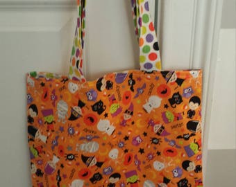 Monogrammed Halloween Trick or Treat Bag - Orange Character with Colored Dot