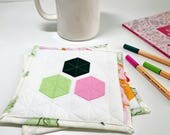 Quilted Mug Rug Colorful Coasters Table Mats Fabric Coasters Snack Mat Large Coasters Gifts Under 20 Valentines Day Gift