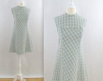 SALE Blue Gingham Picnic Shift Dress - Vintage 1960s Sleeveless A Line Dress in Small