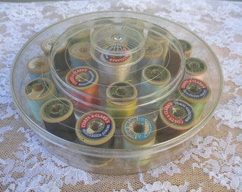 Vintage Sewing Thread Box Round Clear Plastic with 21 Wood Thread Spools Cotton Thread