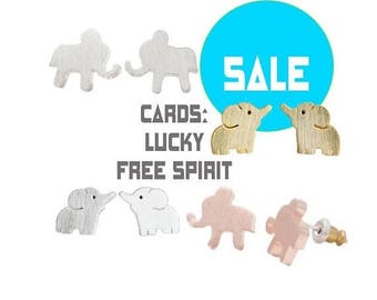 75% off Sale cute little round ELEPHANT stud earrings, Gold, Silver, sweet animal elephants, Humane Society donation