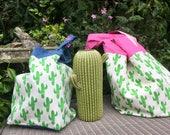 Holiday Tote bag. Cactus print shopping bag. FREE UK P&P. Canvas travel holiday bag.