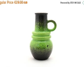 SALE 20% off Vintage green brown ceramic vase West Germany, Mid Century pottery green brown vase, Pottery green vase 60s / 70s