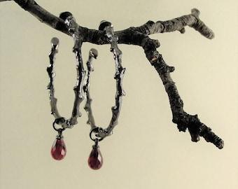 Gothic Jewelry, Earrings, Hoop Earrings, Red Stones, Gothic Earrings,Thorn Earrings, Twig Earrings, Twilight Jewelry, Vampire Jewelry,Hoops,