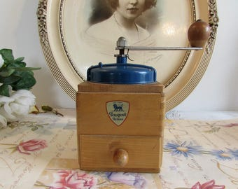 Antique French old coffee grinder, mill.   Peugeot Freres.  Blue.   Country cottage chic.
