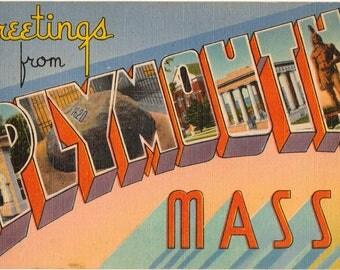 Linen Postcard, Greetings from Plymouth, Massachusetts, Pilgrims, Large Letter
