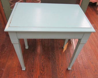 Hand Painted Vintage Coastal Blue Table Shabby Farmhouse Prairie Cottage Chic