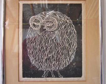 "Framed Mid Century Woodblock, Signed Pinkerton ""67"""