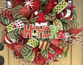 HoHoHo Christmas Wreath ~ Christmas Deco Mesh Wreath