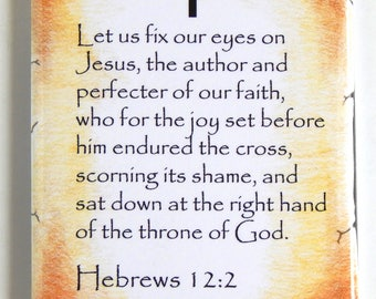 Hebrews 12:2 Bible Verse Fridge Magnet (2 x 3 inches)