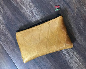 Gold Diamond Tufted Sparkle Vinyl Change Purse